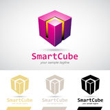 Magenta Glanzende 3d Kubus Logo Icon Stock Afbeelding