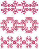 "Magenta Heart Borders. Vector art in Illustrator 8. ALL ELEMENTS ARE SEPARATE IMAGES. Use ""as is"" for a border, make the border longer or shorter as needed Royalty Free Stock Photo"
