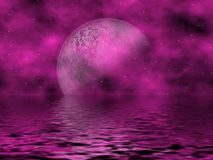 Magenta Moon & Water. Beautiful Magenta Fantasy Sky With Moon & Stars Overlooking The Water Royalty Free Stock Image