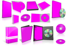 Magenta multimedia disks and boxes on white Stock Image