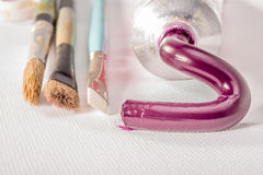 Magenta Oil Paint from Tube Stock Photography