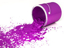 Magenta paint. Bucket upside down on a white background Royalty Free Stock Images