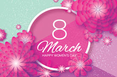 Magenta Paper Cut Flower. 8 March. Origami Women`s Day. Circle Frame. Space for text Stock Image