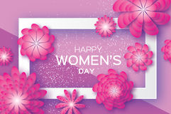 Magenta Paper Cut Flower. 8 March. Origami Women`s Day. Rectangle Frame. Space for text Royalty Free Stock Photo