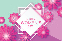 Magenta Paper Cut Flower. 8 March. Origami Women`s Day. Square Rhombus Frame. Stock Images