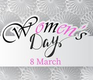 Magenta Paper Cut Flower. 8 March. Women s Day Greeting card. Vector Spring illustration Stock Images