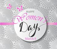 Magenta Paper Cut Flower. 8 March. Women s Day Greeting card. Vector Spring illustration royalty free illustration