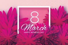 Magenta Pink Paper flower. Women`s Day. 8 March. Square Royalty Free Stock Images