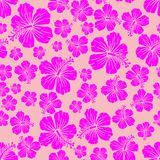 Magenta on pink random hibiscus flower seamless repeat pattern background. Two colour random hibiscus flower seamless repeat pattern background. Could be used Stock Photos
