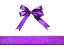 Magenta (purple)fabric ribbon and bow isolated on a white background Royalty Free Stock Image