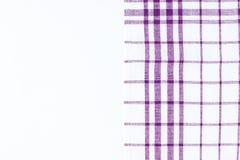 Magenta, purpurowy płótno, kuchenny ręcznik z w kratkę wzorem, iso Zdjęcie Stock