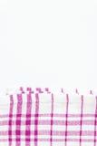 Magenta, purpurowy płótno, kuchenny ręcznik z w kratkę wzorem, iso Fotografia Stock