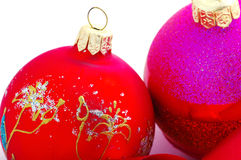 Magenta and red christmas balls Royalty Free Stock Photos