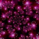 Magenta Roze Fractal Sterren op Ruimte Abstracte Achtergrond Royalty-vrije Stock Foto's