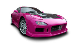 Magenta Sports Car. A modified pink sports car on a white background. Clipping path on vehicle. See my portfolio for more automotive images royalty free stock images