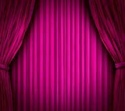 Magenta Theater stage curtains. Theater stage with spot light on red magenta velvet cinema curtain drapes Stock Image