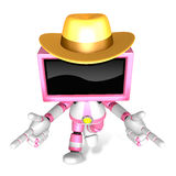 Magenta TV character are kindly guidance. Create 3D Television R Royalty Free Stock Photo