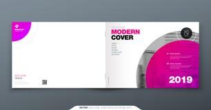 Magentafärgad broschyrdesign Horisontalräkningsmall för broschyren, rapport, katalog, tidskrift Orientering med den moderna cirke vektor illustrationer