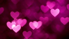 Magentafärgad färg för abstrakt hjärtabokehbakgrund