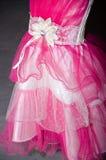 Magentafärgad klänning för fragment med vita flickor Royaltyfri Fotografi