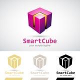 Magentafärgad skinande 3d kub Logo Icon Fotografering för Bildbyråer