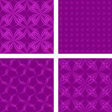 Magentaseamless pattern background set. Magenta seamless curved line pattern background set stock illustration
