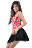 Mager meisje in een korte rok Royalty-vrije Stock Foto's