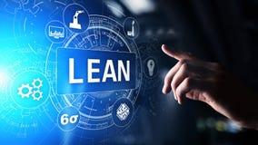 Mager, sechs Sigma, Qualitätskontrolle und Herstellungsprozessmanagementkonzept auf virtuellem Schirm stockfotos