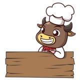Mager signage van de stierenchef-kok hout stock illustratie