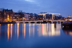 Magere Brug. Skinny Bridge on the Amstel River in Amsterdam stock photos