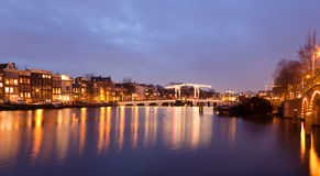 Magere Brug. Skinny Bridge on the Amstel river in Amsterdam stock photography