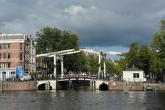 The Magere Brug. In Amsterdam, Netherlands stock photography