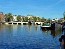Magere brug in Amsterdam. The magere brug, translated as `skinny bridge`, is an iconic bridge in Amsterdam royalty free stock photo