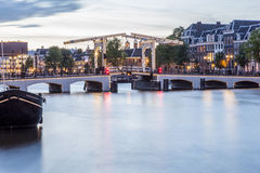 Magere brug (Skinny Bridge) over the Amstel River Stock Photos