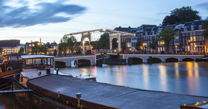 Magere brug (Skinny Bridge) over the Amstel River Royalty Free Stock Photography