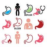 Magesjukdomlågvatten, sårsymbolsuppsättning vektor illustrationer