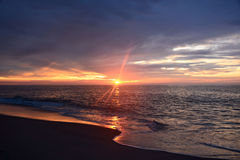 Magestic Sunrise Over Ocean. The sunrises over the ocean on a summer morning Royalty Free Stock Image