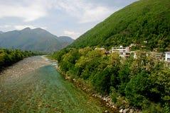 Maggia river in springtime Stock Image