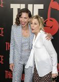 Maggie Gyllenhaal and Edie Falco. Award winning actresses Maggie Gyllenhaal and Edie Falco arrive on the red carpet for the New York premiere of HBO`s multi Stock Photography