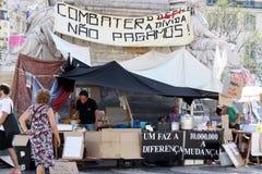 Maggio 2011 - Lisbona, accampamento di Rossio Immagine Stock Libera da Diritti