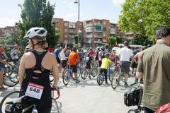 28 MAGGIO 2017, ALCOBENDAS, SPAGNA: parata tradizionale della bicicletta immagini stock libere da diritti