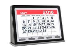 Maggio 2018 calendario digitale, rappresentazione 3D Fotografie Stock Libere da Diritti