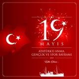 19 maggio, commemorazione della carta di celebrazione della Turchia di Ataturk, della gioventù e di giornata di gare sportive illustrazione vettoriale