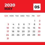 MAGGIO 2020 modello, calendario da scrivania per 2020 anni, inizio di settimana la domenica, progettazione del pianificatore, can illustrazione vettoriale