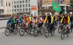 30 maggio 2015: Poltava l'ucraina Parata di riciclaggio della bici Fotografia Stock