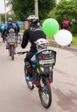30 maggio 2015: Poltava l'ucraina Parata di riciclaggio della bici Fotografie Stock