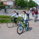16 maggio 2015: Poltava l'ucraina Women&#x27 di riciclaggio; parata della bici di s Immagini Stock Libere da Diritti