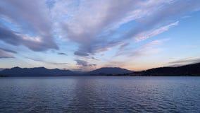 Maggiore Italia del lago view en la puesta del sol foto de archivo