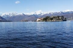 Maggiore jezioro krajobraz od Stresa, Włochy, - Obrazy Royalty Free