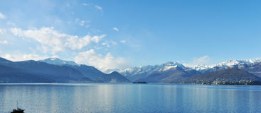 Maggiore lake panorama. View of mother island Royalty Free Stock Photos